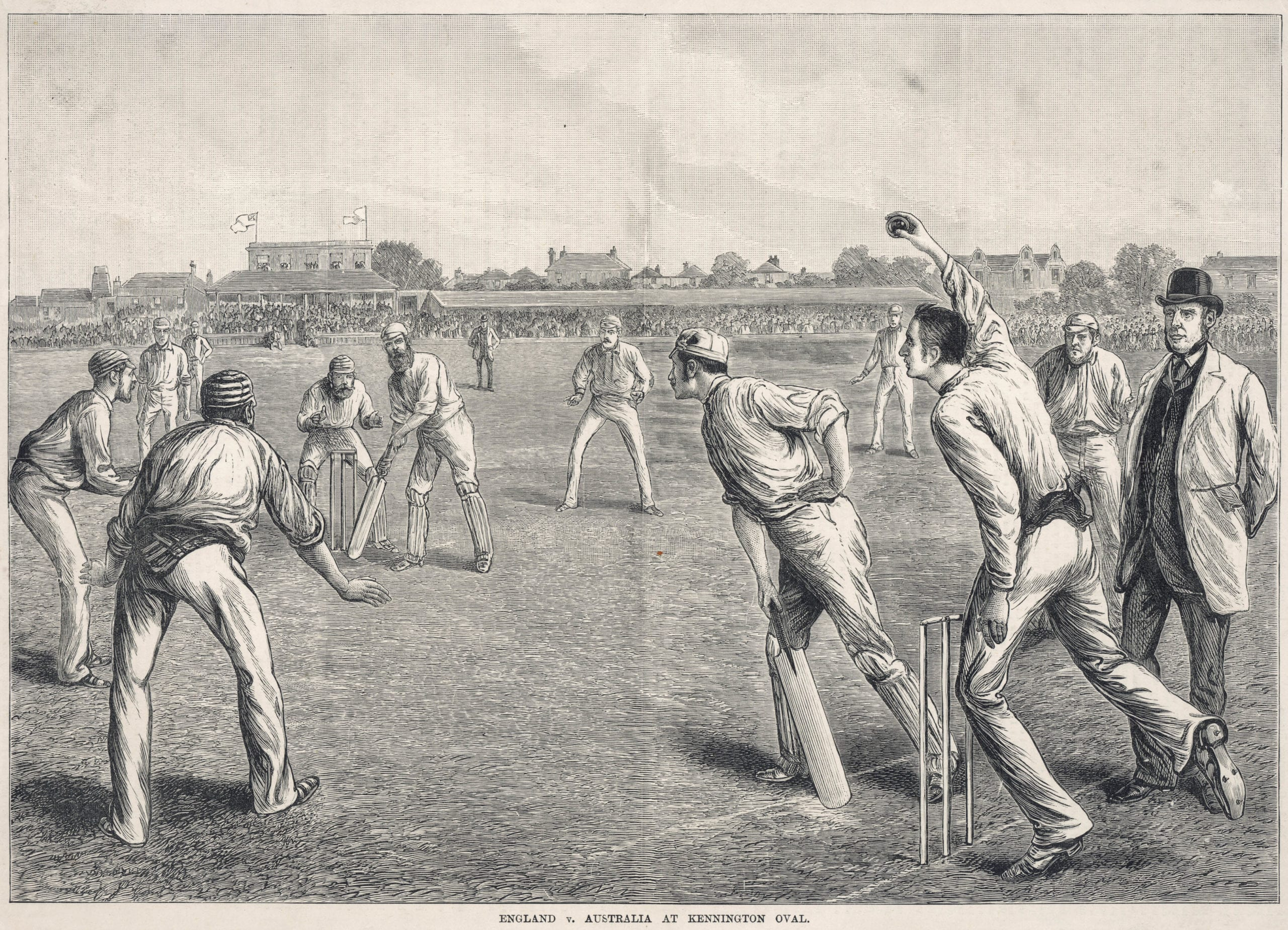 England V Australia cricket match. Date: late 19th century