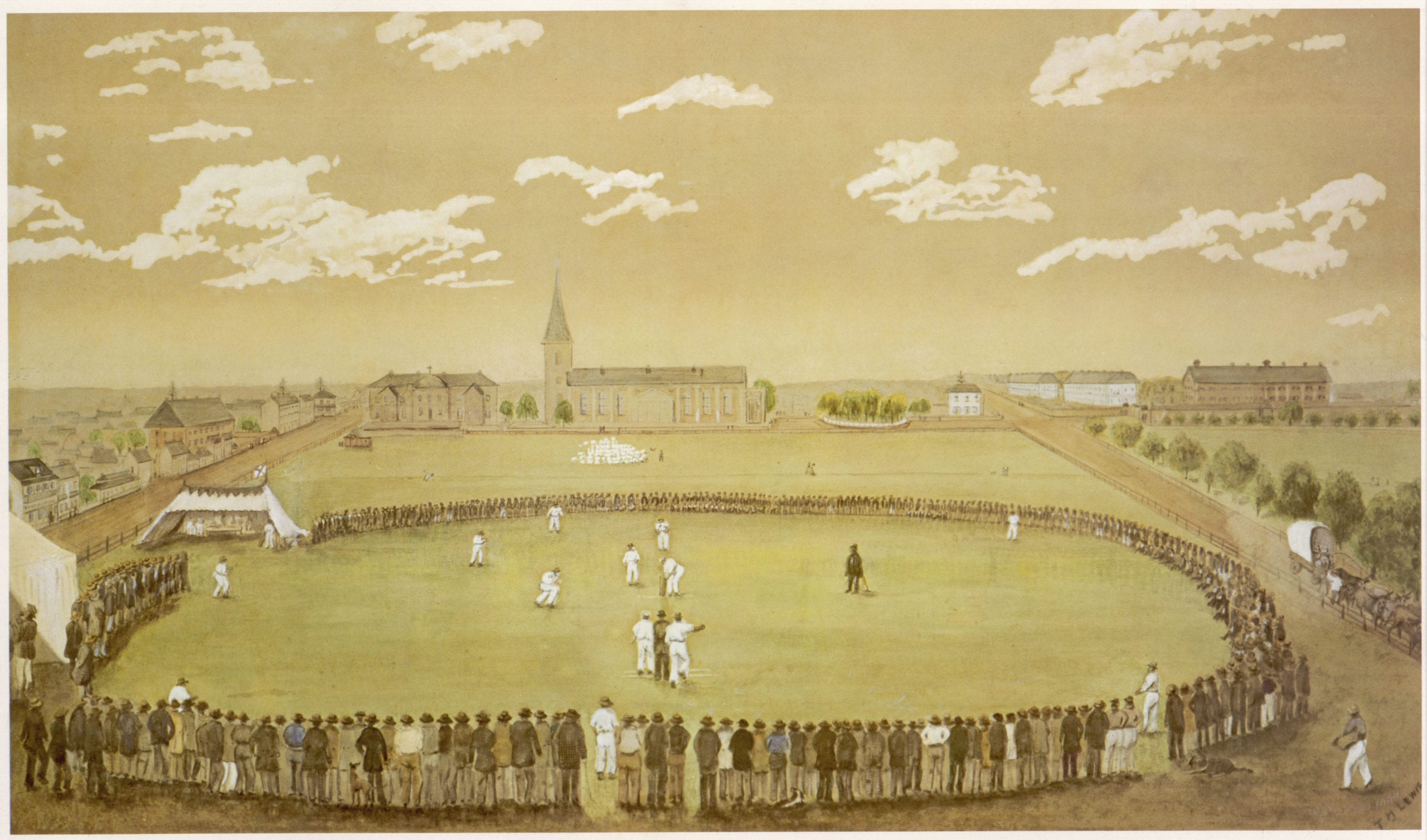 Cricket in Sydney, Australia circa 1842