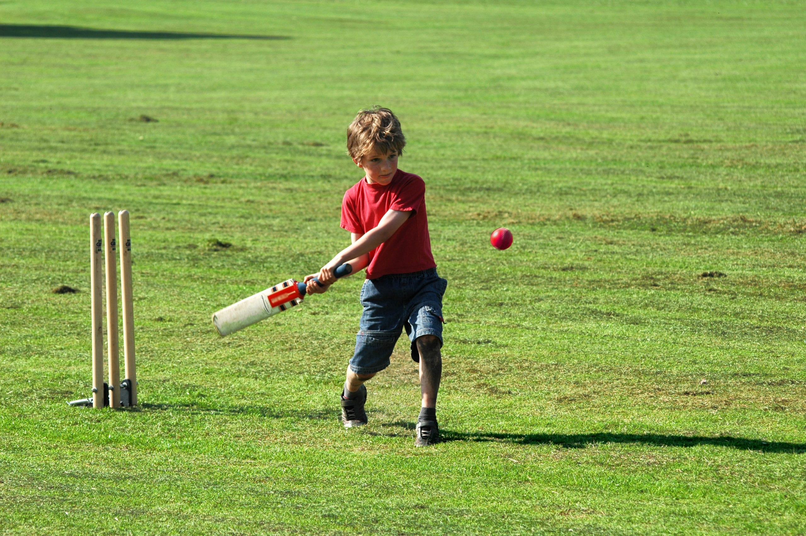 boy playing cricket, batting ball